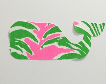 New custom Made To Order Whale Pillow made with Lilly Pulitzer Pink Pout Flamenco fabric