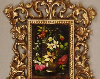 BAROQUE Metal GILT Frame Oil Painting flowers bouquet in vase  painting England 12 x 8 1/2 in metal frame decorative 4/ 5 x 5 /5 1950s