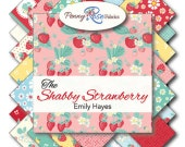 """FABRIC Large Charm Pack 5"""" squares SHABBY STRAWBERRY Riley Blake 42 cuts"""