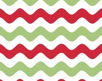 Clearance FABRIC Big WAVY CHRISTMAS Stripes 1/2 Yard