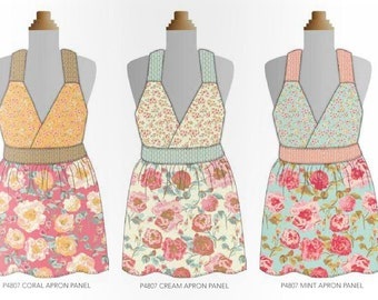 Chatsworth Apron Panel ~ White Shabby Style Floral ~ Cream Colorway ~ Designed by Emily Taylor for Riley Blake