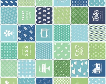 Modern Minis Patchwork Print ~ Blues and Greens ~ Lori Holt for Riley Blake Designs ~ Woven Cotton by the Yard