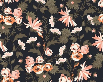 Apricot & Persimmon ~ Black Floral Print ~ Carina Gardner for Riley Blake ~ Woven Cotton by the Yard