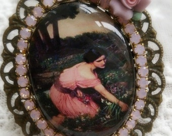 Gorgeous Preraphaelite glass cameo ring