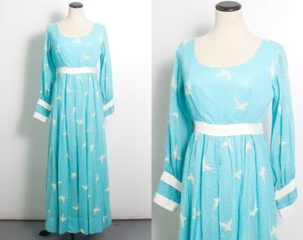 VTG 60's Baby Blue Butterfly Jumper (Medium) Wide Palazzo Pants Long Sheer Sleeves Empire Waist Novelty Print One Piece Jumpsuit Romper