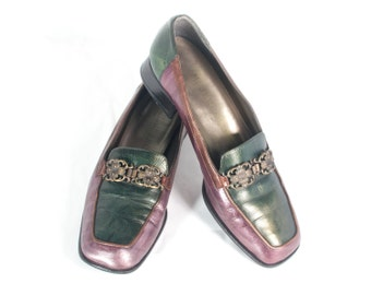 VTG 70's Leather Joker Loafers size 7 Womens Two Tone Green & Purple Chunky Square Toe Heels Pumps Slip Ons Loafer Metallic