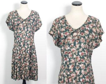 VTG 90's Blossom Mini Dress (Large / Medium) Hunter Green Pink Rose Bouquet Print Floral Swingy V Neck Keyhole Short Sleeves Sun Dress