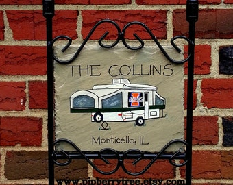 Personalized Custom Camper College/University Edition Hand Painted Decorative Slate Sign/  Custom RV Personalized Sign