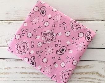 Pink and Black Bandana print Cotton Fabric 1/2 yard