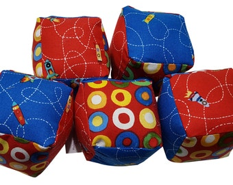 Soft Baby Blocks in Space Ship Blue and Red Prints