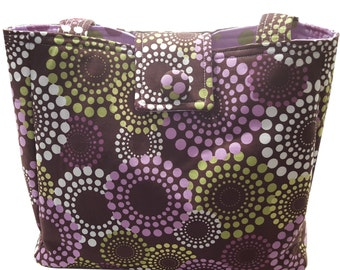 Large Purse in Deep Purple with Multicolored Polka Dots