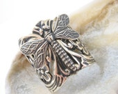 Dragonfly Ring, Silver, Adjustable, Nature-Inspired, Woodland, Handmade, Jewelry, dragonfly, Santa Cruz