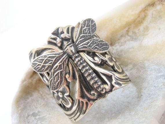 Dragonfly Ring, Silver, Adjustable, Nature-Inspired, Woodland, Handmade, Jewelry, dragonfly, Santa Cruz