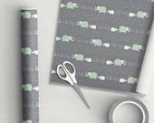 Hello Baby Elephant Gift Wrap Mint