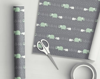 Hello Baby Elephant Gift Wrap Mint