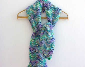 Hand Knit Scarf, Ready to Ship, Long Chevron Scarf, Woman's Scarf, Bright Turquoise Green Purple Scarf, Ripple Scarf, Winter Scarf