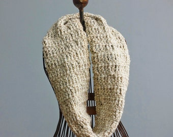 Chunky Circle Scarf, Beige Tweed Infinity Scarf, Crocheted Unisex Cowl Scarf,  Warm Winter Scarf, Ready to Ship