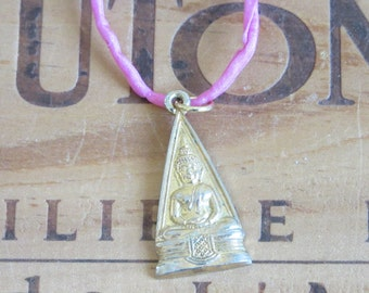 Vintage Buddha Buddhist Medal Necklace on a Pink Silk Cord