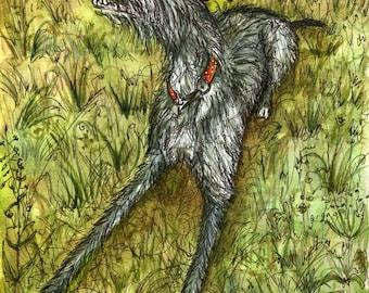 Dog Art Lurcher Print - 5 x 7 inch