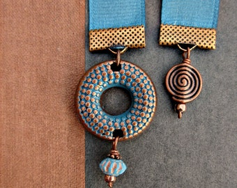 Blue Grosgrain Beaded Ribbon Bookmark with Aged Metal Accent: Opus