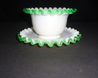 Fenton Emerald Crest  Mayonnaise Mayo bowl with Underplate ~ 1940s