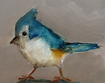 TITMOUSE TUFTED BIRD Colette W. Davis 4x4 Art Giclee print
