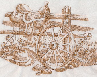 Embroidered Wagon Wheel Scene Toile