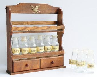 Wood History- Vintage 12 Spice -Bottle- Rack Holder Shelf- Eagle Emblem