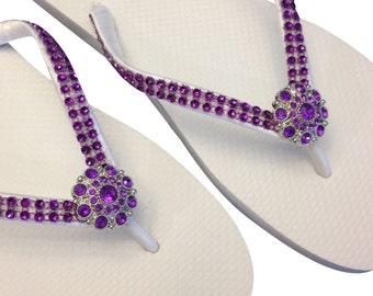 Purple Flip Flops - Rhinestone Flip Flops - Bridesmaid Flip Flops -  Bling Flip Flops - Purple Rhinestone Flip Flops - Beach Wedding