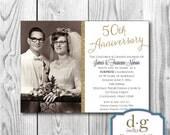 50th Anniversary Invitation, 50th, Anniversary Invitation, Anniversary, Wedding annversary, PRINTABLE