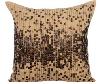 Decorative Throw Pillow Covers Accent Pillow Couch Sofa Bed Toss 16x16 Beige Linen Pillow Cover Sequins Embroidered Antique Gold Bullets