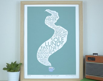 Art Screen Print Shipping Forecast & Cuppa Tea Limited Edition Typography