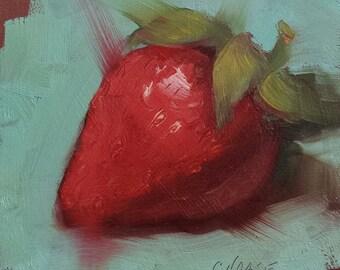"Small Original Oil Painting, Red Strawberry, 4 x 4"", Unframed, Wall Art, Kitchen Art"