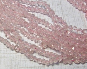 Rose Quartz Rondelle Beads 4mm, 14 Inches Natural Pink Gemstone