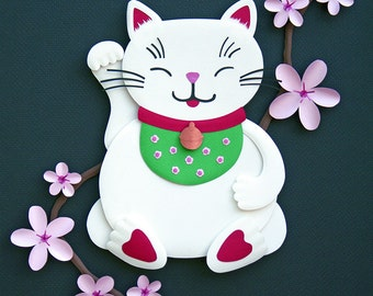 Maneki Neko with Cherry Blossoms / lucky cat / beckoning cat - 8 x 10 art print of an original paper sculpture by Tiffany Budzisz