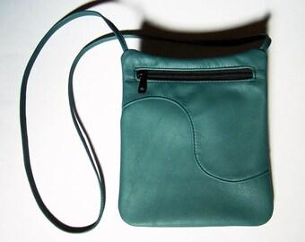 Green Leather Purse - Teal Green Leather Handbag - Cross Body Style Festival Bag