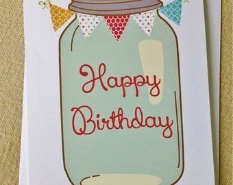 Mason Jar Birthday Cards, Blank Rustic Farm Cards, Set of 10
