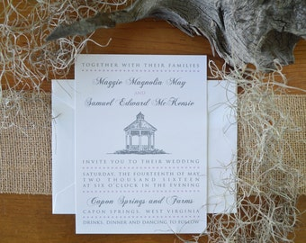 Gazebo Wedding Invitations - Whitefield Square Savannah