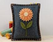 Wool Felt Pincushion • Orange Daisy • Hand Embroidered • Grey • Pin Pillow