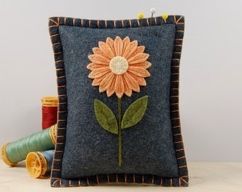 Wool Felt Pincushion • Orange Daisy on Grey • Hand Embroidered • Pin Pillow