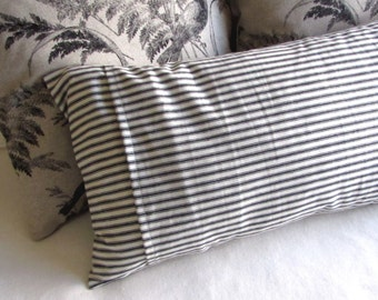 FRENCH TICKING black white decorative bolster pillow 12x24
