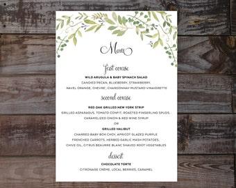 Wedding menu, wedding reception menu, watercolor wedding menu, wedding menu card, wedding menus, printed wedding menu, floral wedding menu
