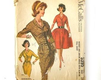 Vintage Dress Pattern McCalls 6395 / Rockabilly Full Skirt Button Front Dress / Slim Skirt Dress / Size 16