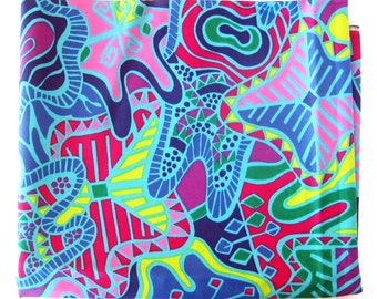 Vintage Fabric - Vintage Cotton - Bright Abstract Print in Lime Green, Hot Pink and Blues - Vintage Yardage