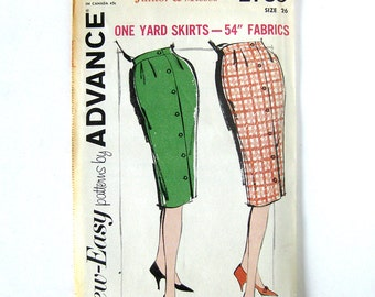 1 Yard Skirts - Slim Fit Button Front Skirt Pattern / Wiggle Skirt / 1960 Vintage Pattern - Advance 2769 / Uncut FF / 24 or 28 Waist