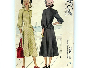 1940s Vintage Women's Junior Suit Pattern with Peplum Jacket and Skirt / McCall 7282 / Size 13
