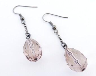 Topaz Crystal Teardrop Earrings -- Clear Faceted Plastic Beads -- Black Chain Drop Earrings -- UK Shop