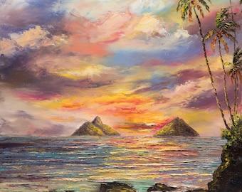 LANIKAI SUNRISE 20x16 Original Oil Painting Art Mokulua Islands Kailua Beach Oahu Ocean Palm Tree Paradise Hawaii Tropic Sky Skies Sunset