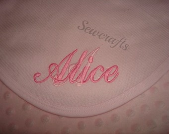 Alice Personalized Blanket - Thermal Waffle Weave Blanket - Choice of Name or up to 3 Monograms