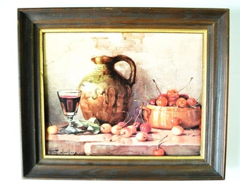 vintage Winde Fine Prints / wood frame / Still Life with Cherries